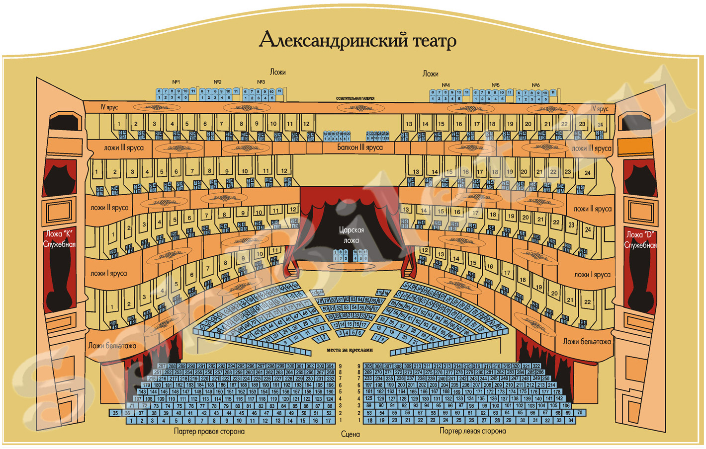 The plan of the hall of the Alexandrinsky Theater with the numbering of seats