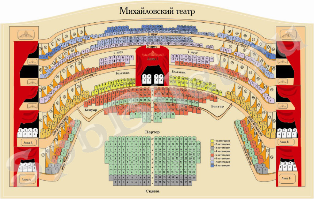 The plan of the hall of the Mikhailovsky Theater with the numbering of seats
